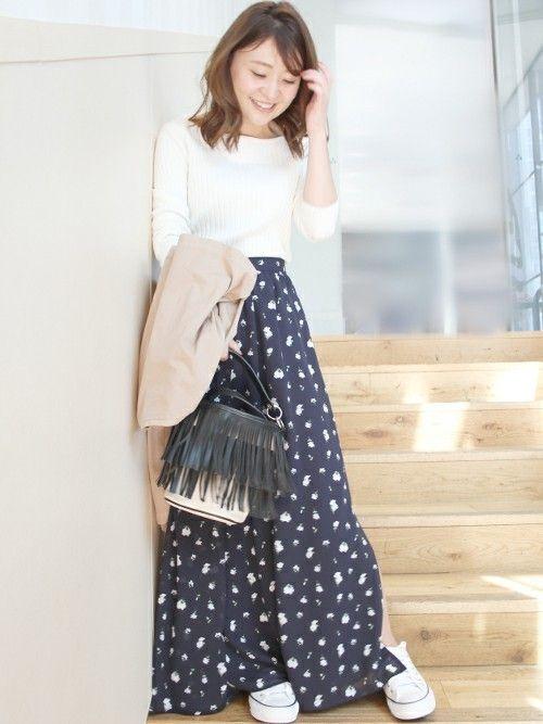 花柄のロングスカート